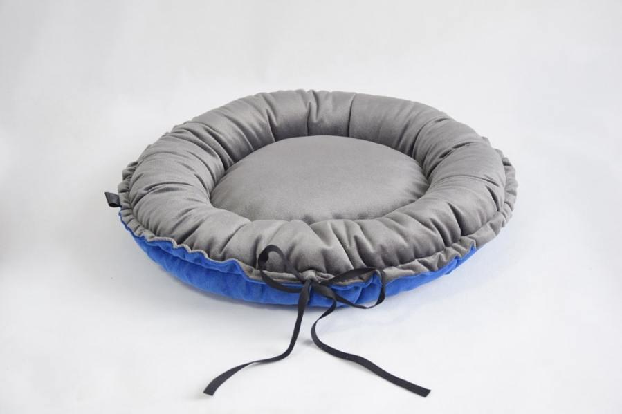 Okrągłe antyalergiczne legowisko MARIKA kobaltowo-grafitowe śr. 60cm