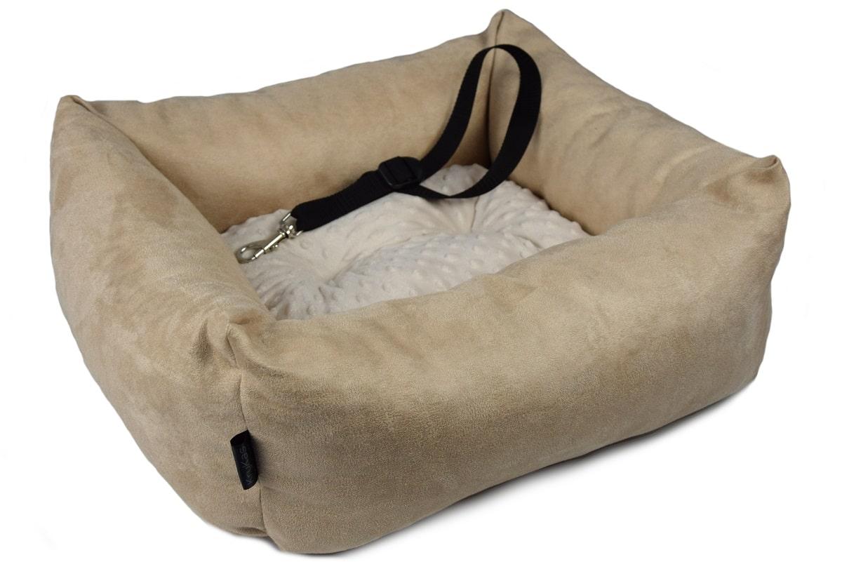 KryKas - antyalergiczny fotelik samochodowy premium dla psa - beżowy z beżową poduszką