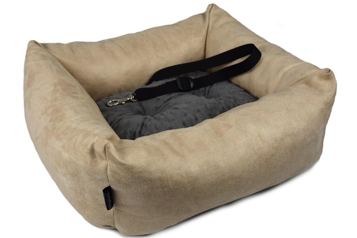 KryKas - antyalergiczny fotelik samochodowy premium dla psa - beżowy z grafitową poduszką