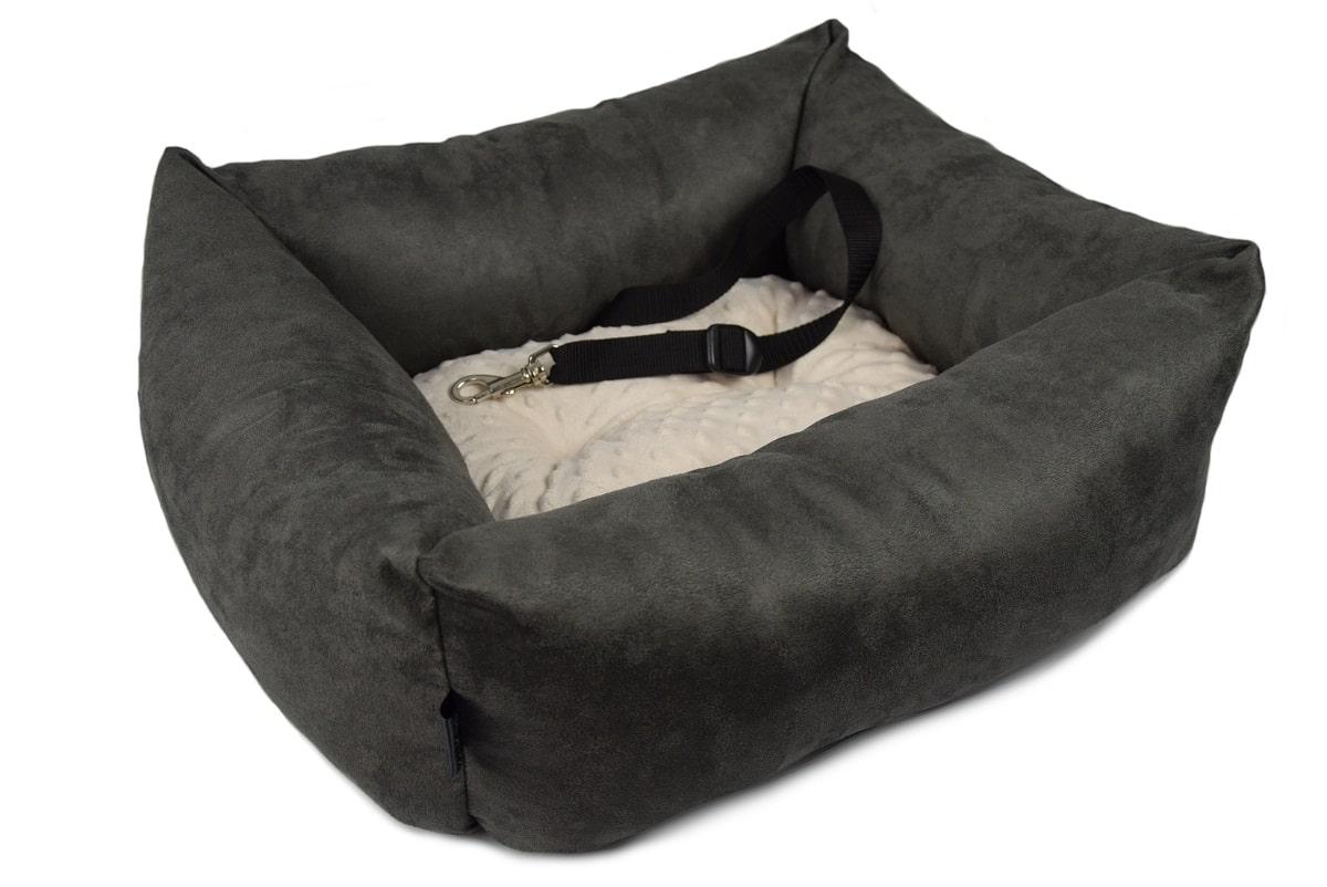 KryKas - antyalergiczny fotelik samochodowy premium dla psa - grafitowy z beżową poduszką