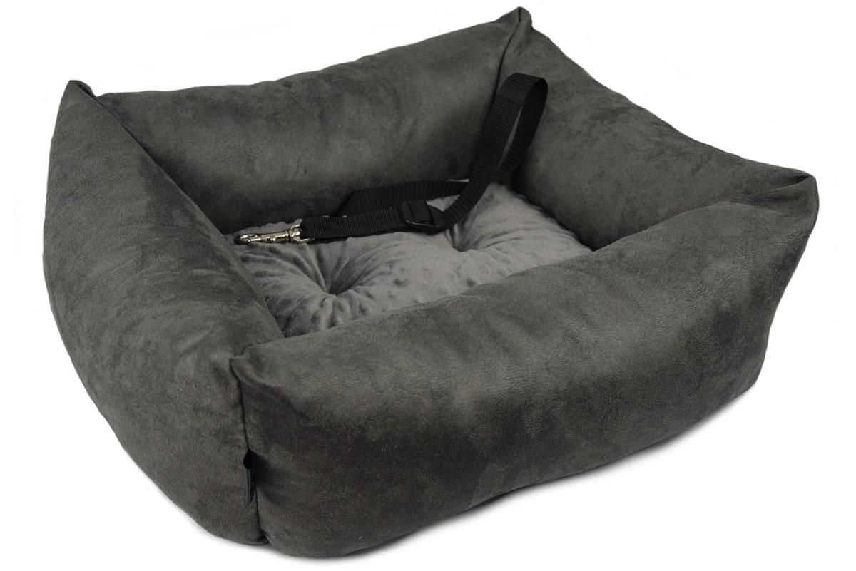KryKas - antyalergiczny fotelik samochodowy premium dla psa - grafitowy z grafitową poduszką