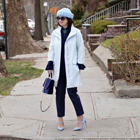 ootd over50 outfit outfitoftheday bluecoat blueshoes fashionpost fashion fashionpost fashiongramhellip