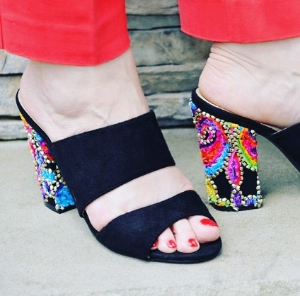 embroidery heels sandals blacksandals newpost mystyle ootd over50 outfit wiwthellip