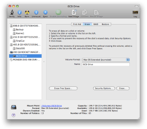 Disk Utility with iSCSI Storage