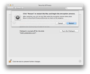 Rebooting To Start FileVault 2 Encryption