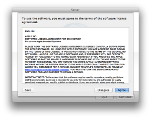 Agree to the Mountain Lion Server Licensing Agreement