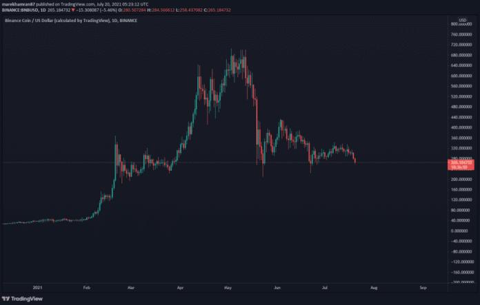 BNB/USD denný graf. Zdroj: TradingView