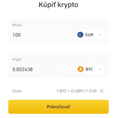 Vklad kreditnou kartou - 1. krok. Zdroj: Binance