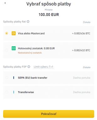 Vklad kreditnou kartou - 2. krok. Zdroj: Binance
