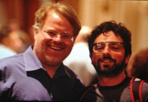 Google cofounder Sergey Brin sporting the Google Glass prototype