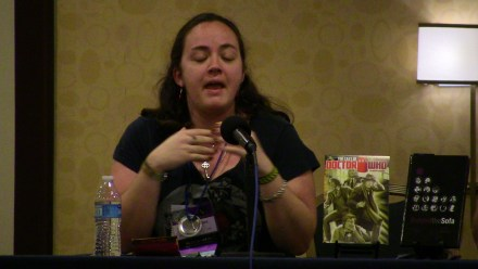 Liz Carlie of 'The Corsair's Closet' on the 'Next Doctor' panel.