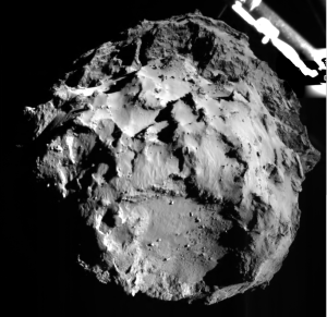 The image shows comet 67P/CG acquired by the ROLIS instrument on the Philae lander during descent on Nov 12, 2014 14:38:41 UT from a distance of approximately 3 km from the surface. Image courtesy of ESA.
