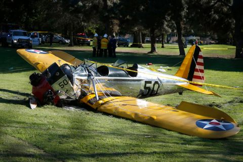 Harrison Ford's vintage plane crashed in a nearby golf course shortly after takeoff from Santa Monica airport.