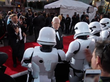 Max von Sydow challenges the First Order troopers of the 501st.