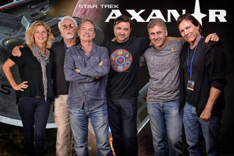 """The cast of 'Axanar' - left to right, Kate Vernon, JG Hertzler, Gary Graham, director Chris Gossett, producer Alec Peters, and Richard Hatch at """"Prelude to Axanar"""" premiere at San Diego Comic Con 2014."""