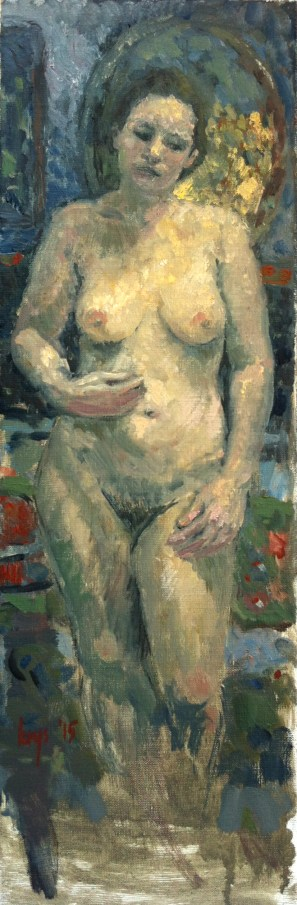 Stehender Akt vor Oval. Oil on canvas. 20 x 60cm, 2015. (sold)