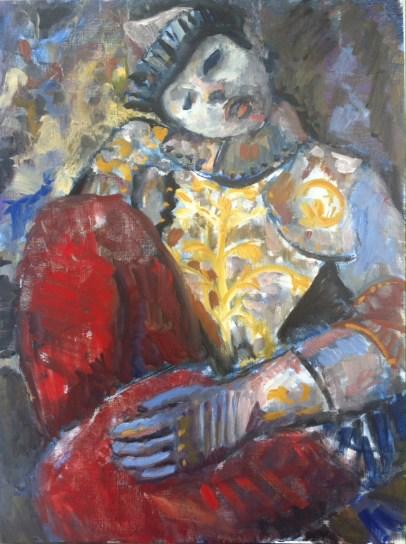 Kniender Ritter/Harlequin. Oil on gesso paper. 2015