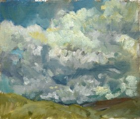 Clouds over Fields, Oil on Gesso Paper, 2015