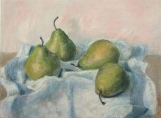 Four pears. 2012 Pastel on beige-gray paper. 47.5 x 35.5 cm