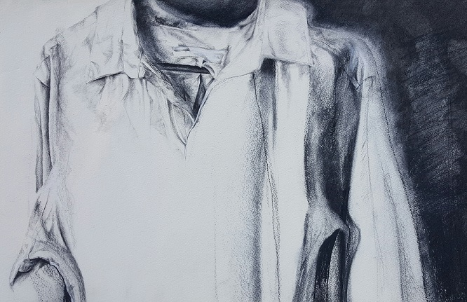 """Sunday After, or For You, The Writers, 2015, Charcoal on paper, 16x20"""", Krystal Booth"""
