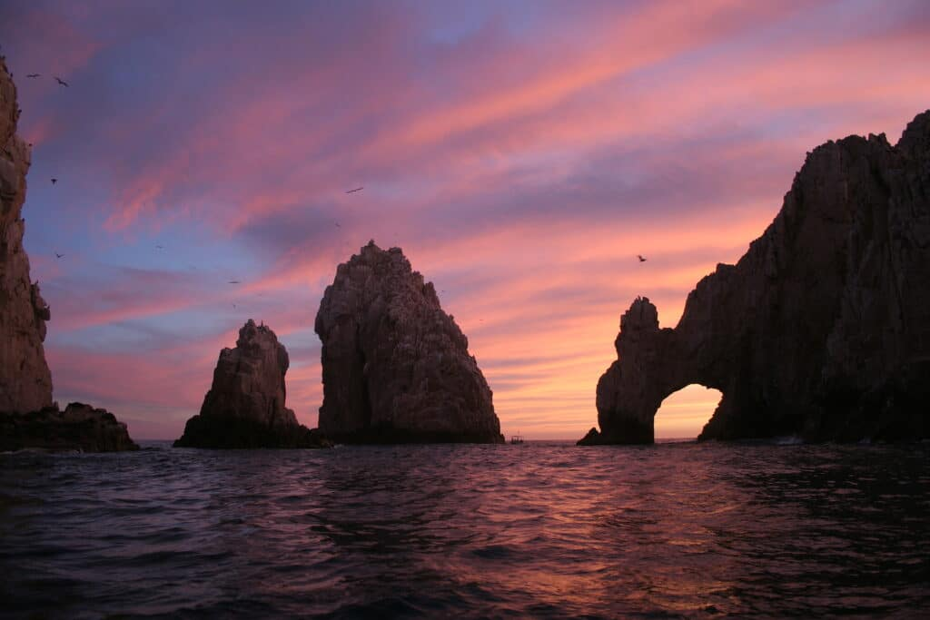 Sunset in Cabo San Lucas Mexico over the ocean
