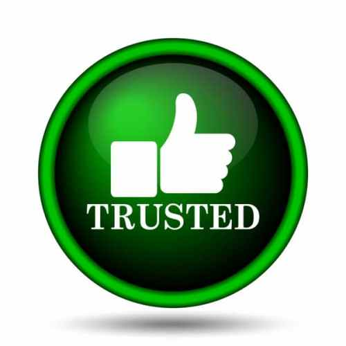 Trusted Review sign with thumbs up