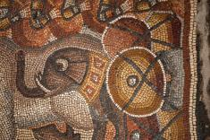 This image of an elephant outfitted for battle appears in the large, complex mosaic that may include an image of Alexander the Great. Photographs of the full panel have not yet been released. PHOTOGRAPH BY MARK THIESSEN, NATIONAL GEOGRAPHIC