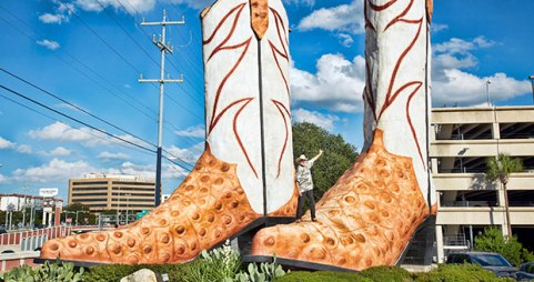 The Tallest cowboy boot sculpture measures 10.4m (35 ft 3 in) in height and was constructed by Bob Wade, 72, (USA) of San Antonio, Texas.