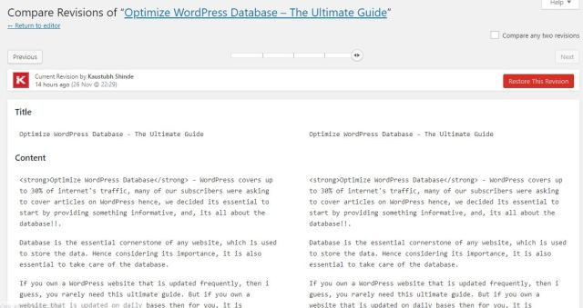 Posts revisions - Optimize WordPress database