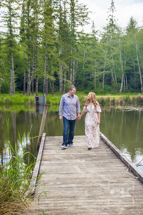 Engagement session lake dock Astoria Oregon