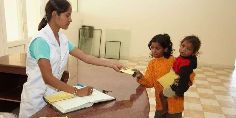 Rezeption des Kirpal Sagar Charitable Hospital, Rezeptausstellung