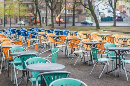 Cafe on a rainy day in Oslo