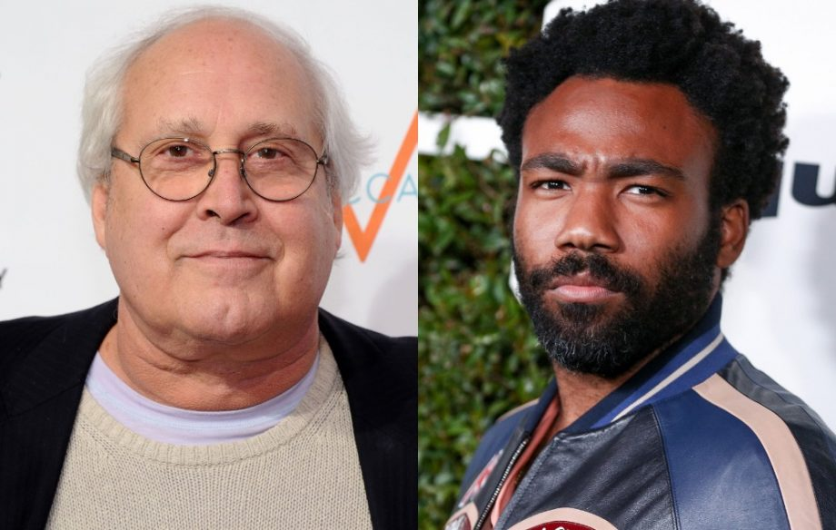 Chevy Chase accused of making  racial cracks  at Donald Glover on     Chevy Chase  Donald Glover Credit  Getty