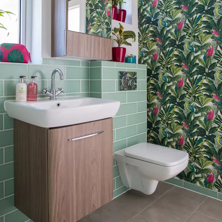 Bathroom wallpaper ideas that will elevate your space to stylish new     Bathroom wallpaper ideas bold botanical print