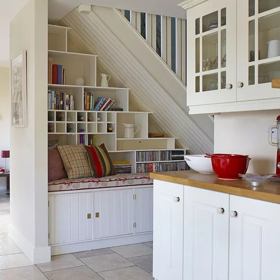 Creative Ways To Use The Space Under The Stairs Ideal Home | Kitchen Under Stairs Design | Cupboard | Living Room | Wet Bar | Basement Renovations | Staircase Storage