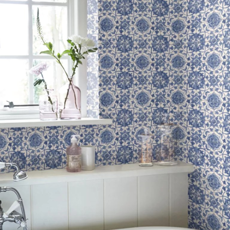 Bathroom Wallpapers   our pick of the best   Ideal Home Faro Tile Wallpaper