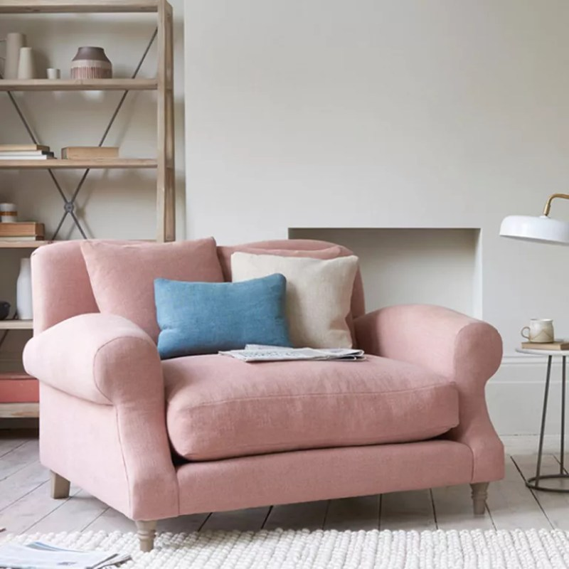 Pink Crumpet snuggles sofa by Loaf in white living room