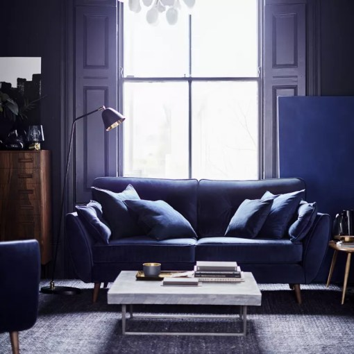 The DFS Zinc sofa has had a stunning velvet makeover  Uh oh    Ideal     DFS zinc sofa in navy velvet