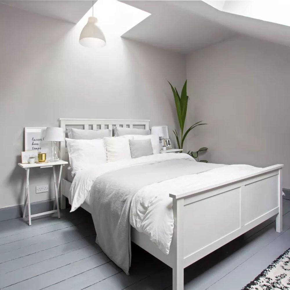 white attic bedroom