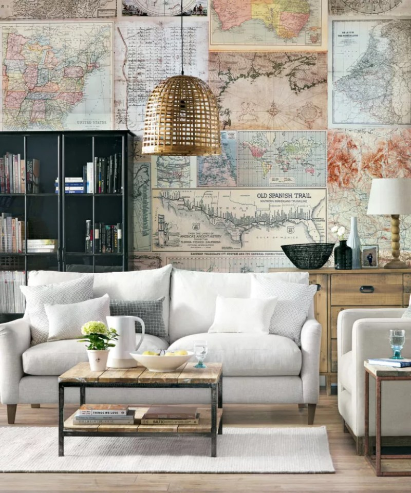 Neutral living room with world map wallpaper