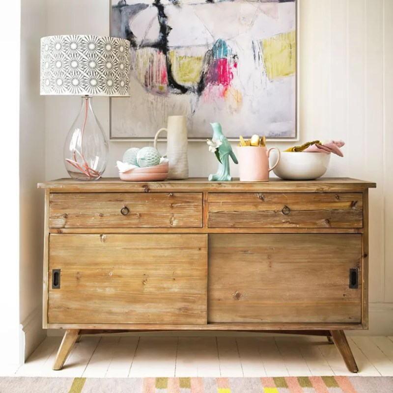 Living-room sideboard with glass base lamp