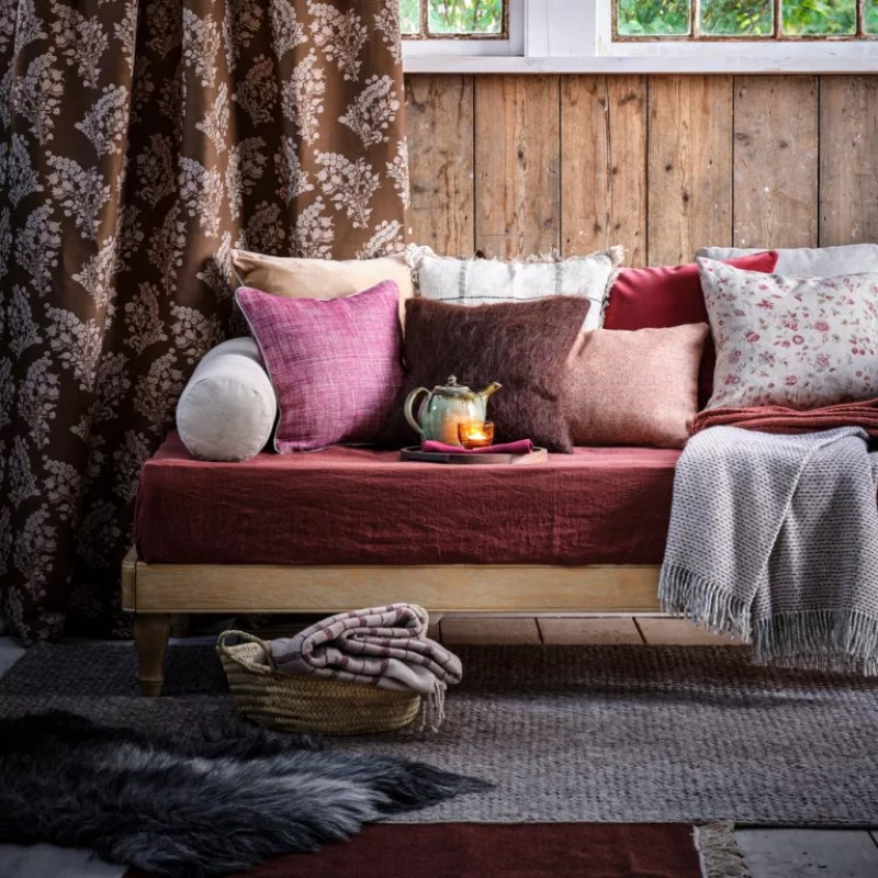 Brown living room ideas sofa dressed with cushions