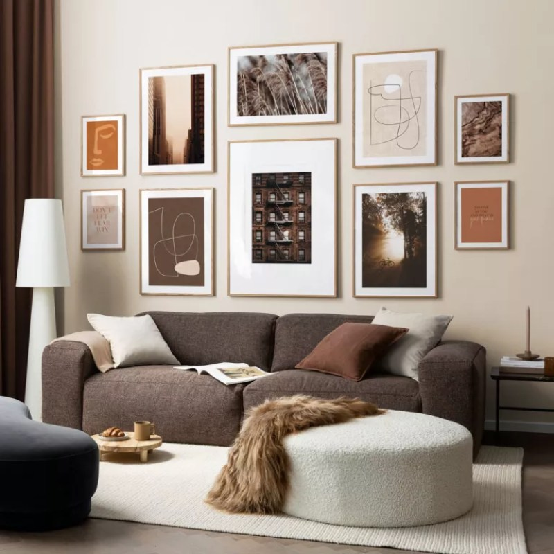 light brown livving room with gallery wall