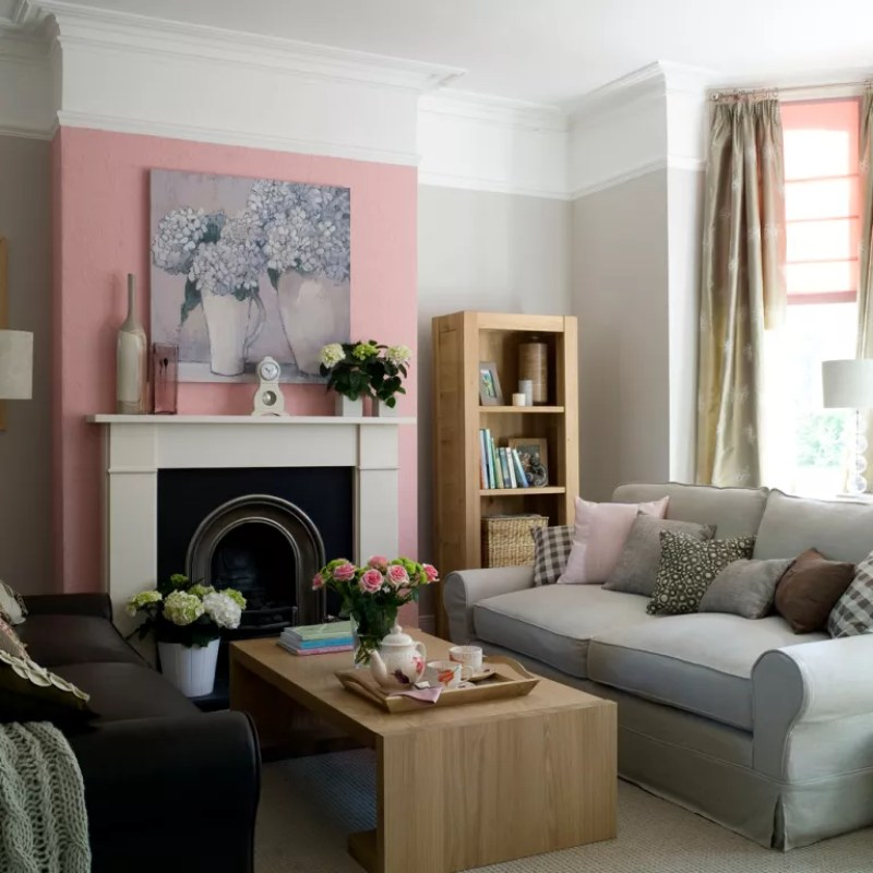 Pink living room ideas painted chimney breast