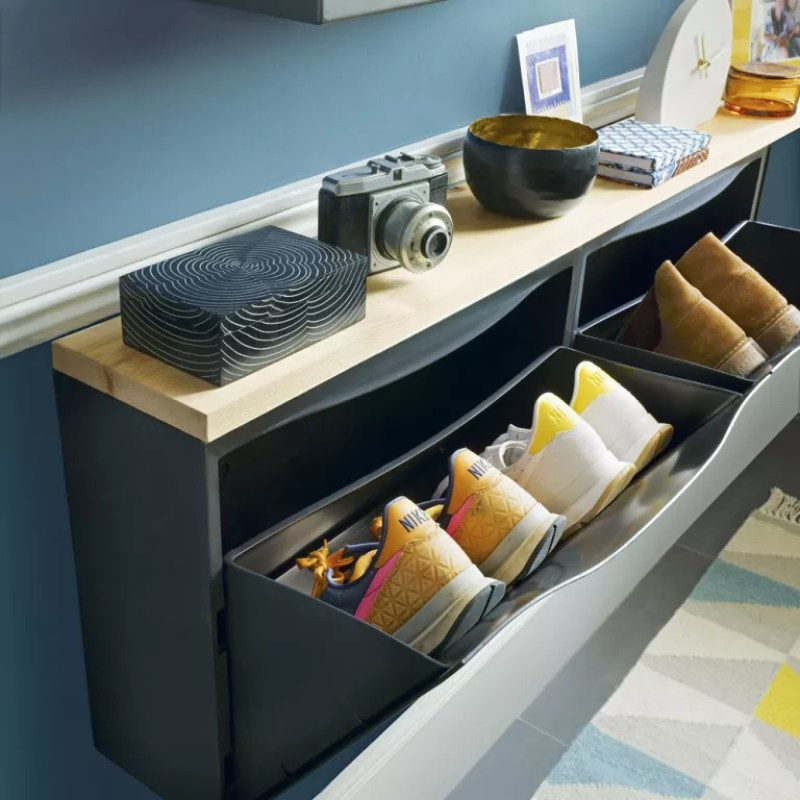 Shoe storage in hallway to declutter