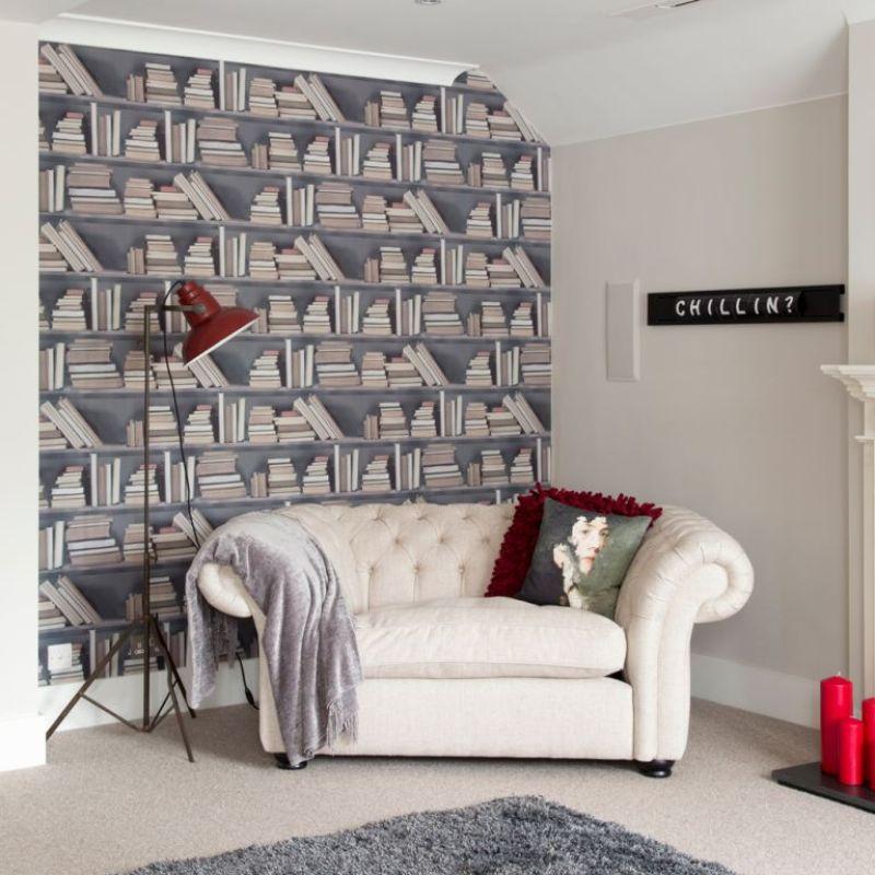 Bookshelf wallpaper in neutral living room