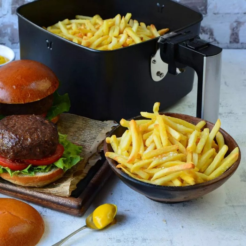 Chips and a burger from an air fryer