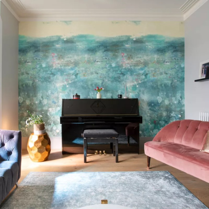 seascape feature wall mural living room