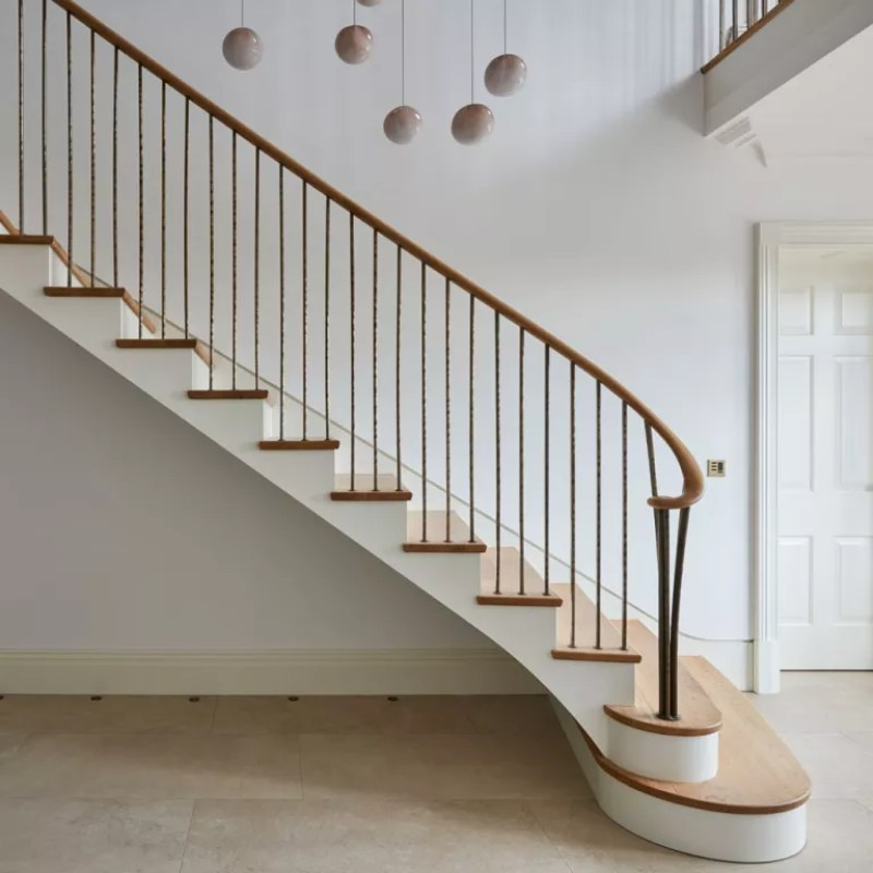 wooden and white staircase