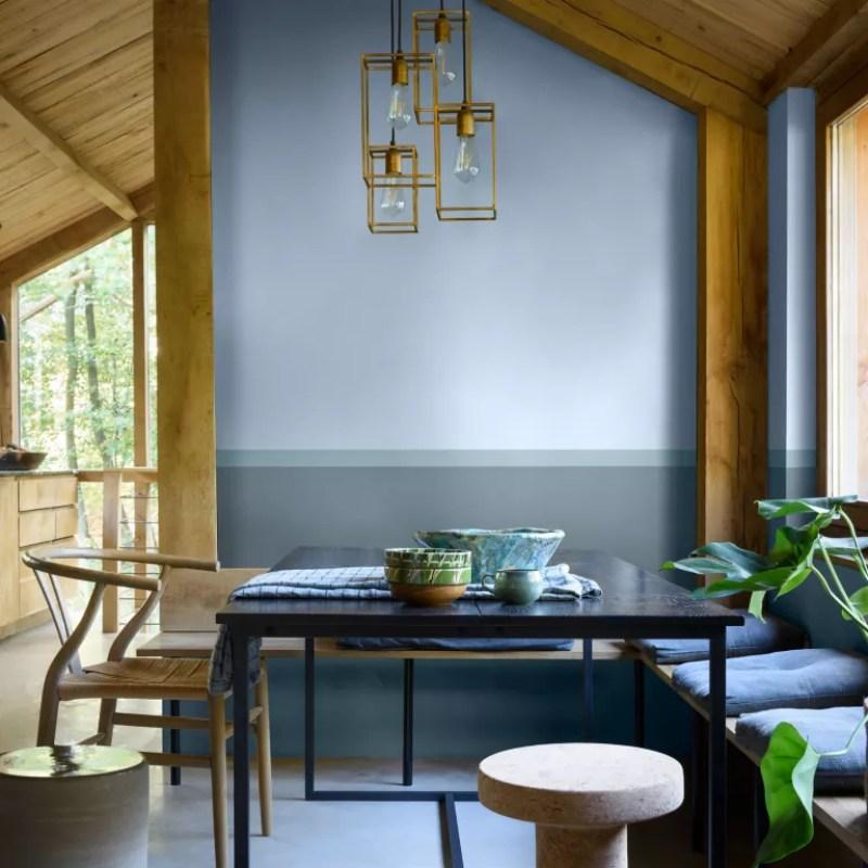 Blue dining area